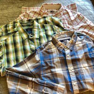 Bundle of men's outdoor plaid button down shirts